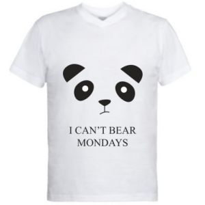 Men's V-neck t-shirt I can't bear mondays - PrintSalon
