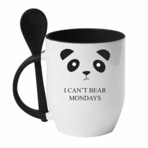 Mug with ceramic spoon I can't bear mondays - PrintSalon