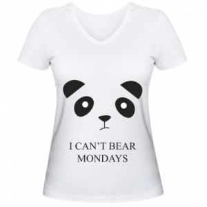 Women's V-neck t-shirt I can't bear mondays - PrintSalon