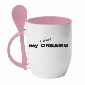 Kubek z ceramiczną łyżeczką I chase my dreams