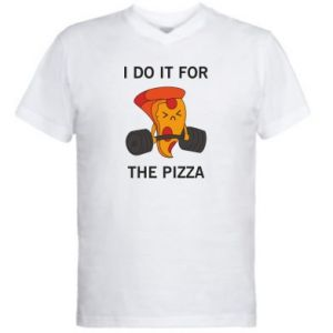 Męska koszulka V-neck I do it for the pizza