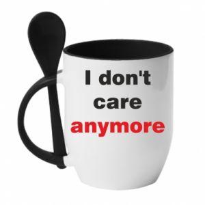Kubek z ceramiczną łyżeczką I don't care anymore