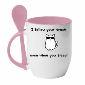 Kubek z ceramiczną łyżeczką I follow your track even when you sleep!