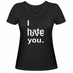 Damska koszulka V-neck I hate/love you