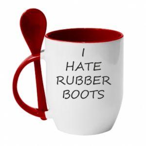 Kubek z ceramiczną łyżeczką I hate rubber boots