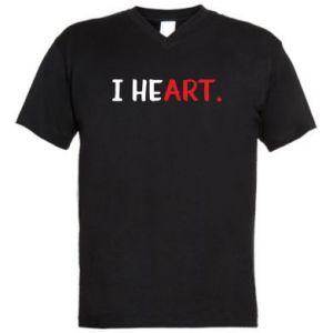 Męska koszulka V-neck I heart