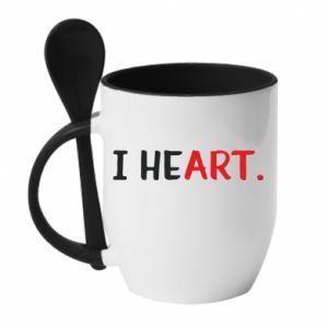 Kubek z ceramiczną łyżeczką I heart