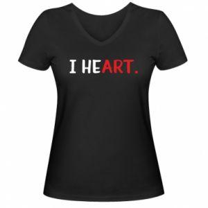 Damska koszulka V-neck I heart