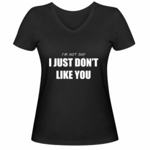 Damska koszulka V-neck I just don't like you