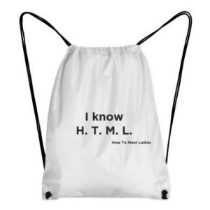Backpack-bag I know H. T. M. L. How To Meet Ladies
