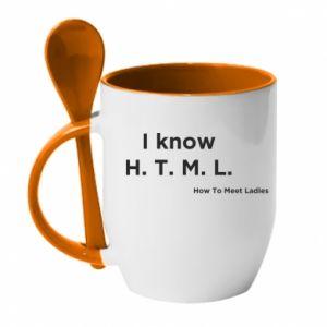 Kubek z ceramiczną łyżeczką I know H. T. M. L. How To Meet Ladies