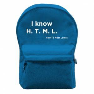 Plecak z przednią kieszenią I know H. T. M. L. How To Meet Ladies