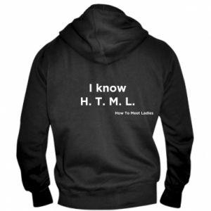 Męska bluza z kapturem na zamek I know H. T. M. L. How To Meet Ladies