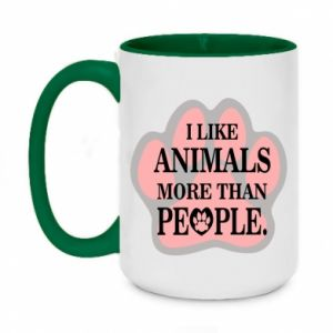 Two-toned mug 450ml I like animals more than people