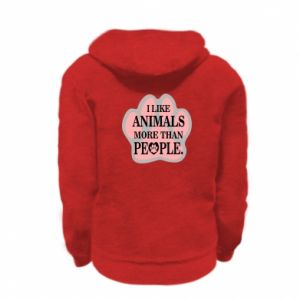Kid's zipped hoodie % print% I like animals more than people