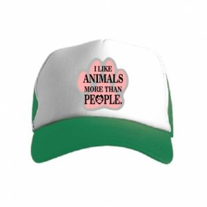 Kid's Trucker Hat I like animals more than people