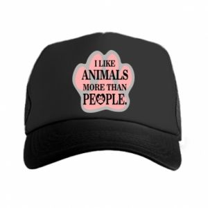 Trucker hat I like animals more than people