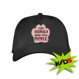 Kids' cap I like animals more than people