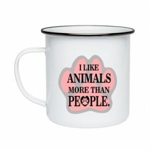 Enameled mug I like animals more than people