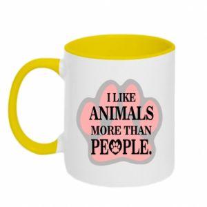 Kubek dwukolorowy I like animals more than people - PrintSalon
