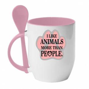 Kubek z ceramiczną łyżeczką I like animals more than people - PrintSalon