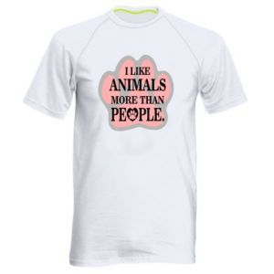 Men's sports t-shirt I like animals more than people
