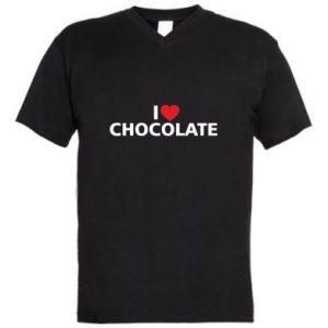 Męska koszulka V-neck I like chocolate