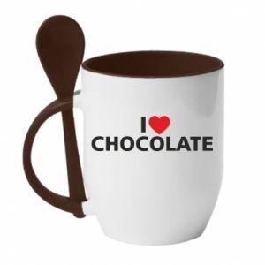 Kubek z ceramiczną łyżeczką I like chocolate