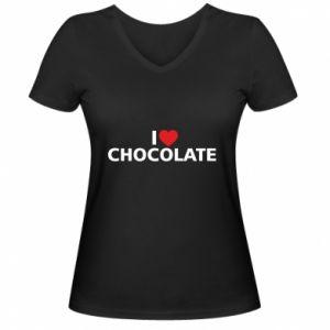 Damska koszulka V-neck I like chocolate