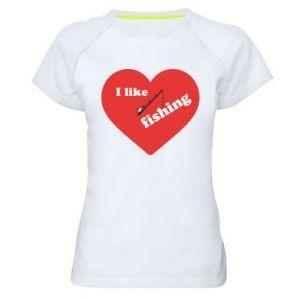 Damska koszulka sportowa I like fishing