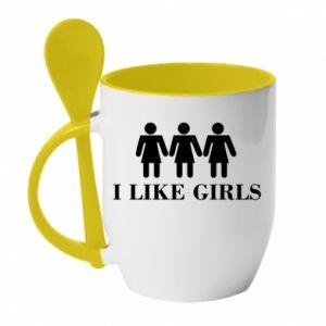 Kubek z ceramiczną łyżeczką I like girls - PrintSalon