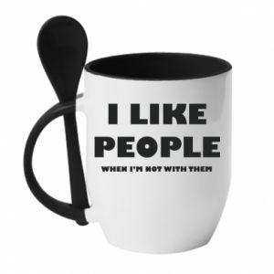 Kubek z ceramiczną łyżeczką I like people