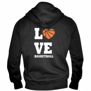 Męska bluza z kapturem na zamek I love basketball - PrintSalon
