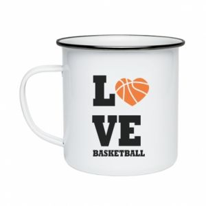 Enameled mug I love basketball