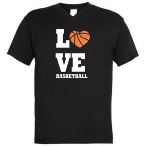 Men's V-neck t-shirt I love basketball