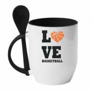 Kubek z ceramiczną łyżeczką I love basketball