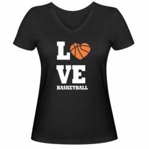Damska koszulka V-neck I love basketball - PrintSalon
