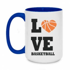 Two-toned mug 450ml I love basketball