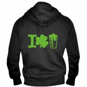 Men's zip up hoodie I love beer St.Patrick 's Day - PrintSalon
