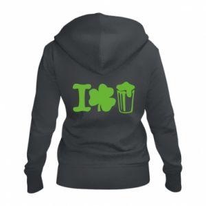 Women's zip up hoodies I love beer St.Patrick 's Day - PrintSalon