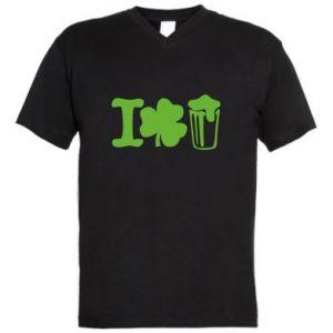 Men's V-neck t-shirt I love beer St.Patrick 's Day - PrintSalon