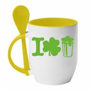 Mug with ceramic spoon I love beer St.Patrick 's Day - PrintSalon