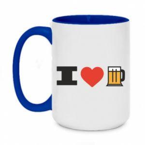 Two-toned mug 450ml I love beer