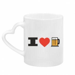 Kubek z uchwytem w kształcie serca I love beer