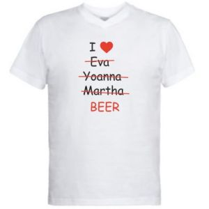 Męska koszulka V-neck I love only beer - PrintSalon