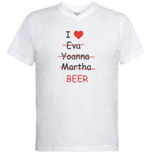Men's V-neck t-shirt I love only beer