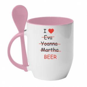 Kubek z ceramiczną łyżeczką I love only beer