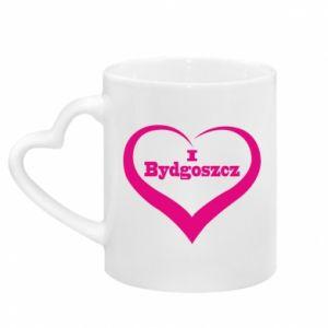 Mug with heart shaped handle I love Bydgoszcz