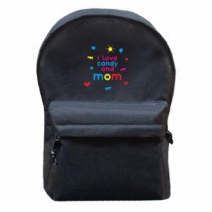 Plecak z przednią kieszenią I love candy and mom