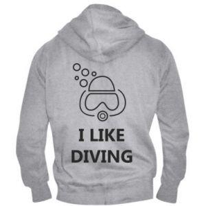 Męska bluza z kapturem na zamek I like diving